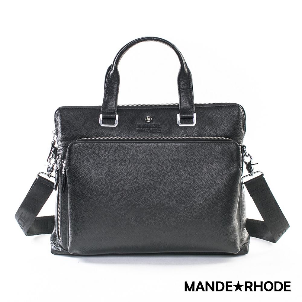 MANDE RHODE-威尼斯x真牛皮前口袋兩用公事包(1566)