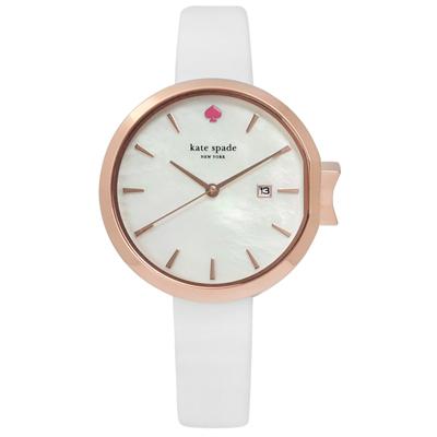 kate spade  歐美蝴蝶結珍珠母貝真皮手錶-白x玫瑰金框/34mm