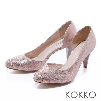 KOKKO手工婚鞋 - 璀璨滿天碎鑽側露高跟鞋 - 雷射金