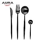 AURA艾樂 Fantasy鈦奢華不鏽鋼餐具四件組(黑)
