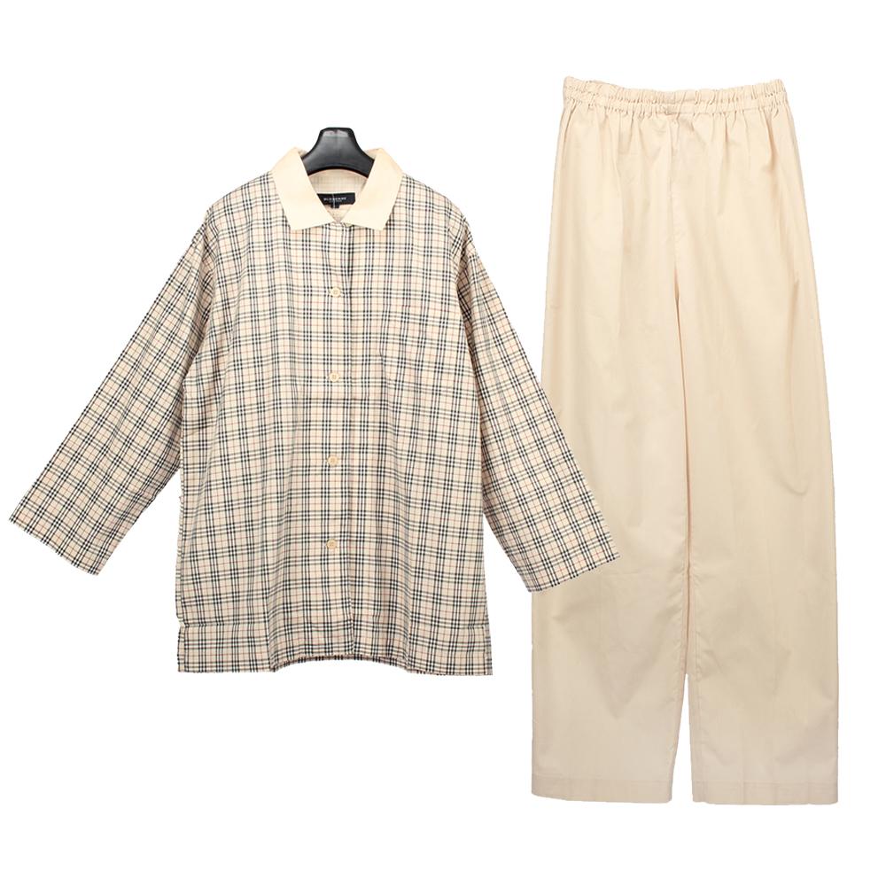 BURBERRY經典格紋純棉長袖休閒家居服-淺駝色