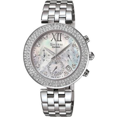 CASIO SHEEN 耀雪紛飛優雅晶鑽腕錶-銀-34mm