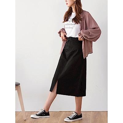 後鬆緊前開衩高含棉素色中長裙.2色-OB嚴選