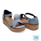TOMS 牛仔魚口楔型鞋-女款