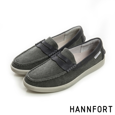HANNFORT CARIBBEAN帆布氣墊樂福鞋-男-率性黑