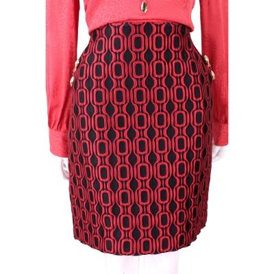 CLASS roberto cavalli 黑紅色凸面幾何紋蛇頭細節苞裙