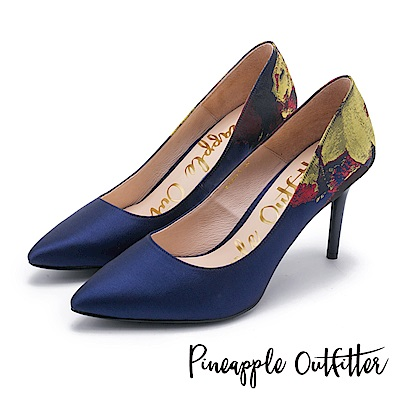 Pineapple Outfitter 高貴名伶 鞋身花卉緞布尖頭細高跟鞋-深藍