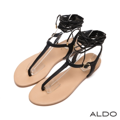 ALDO-希臘女神麻花辮金屬繫踝夾腳涼鞋-尊爵黑色
