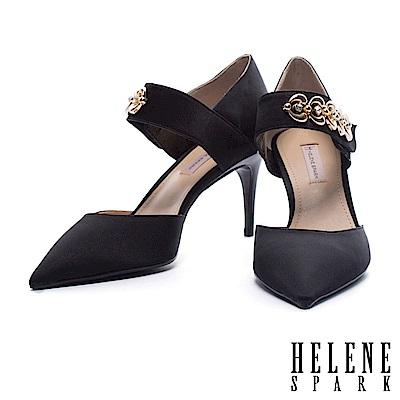 高跟鞋 HELENE SPARK 復古女伶金鍊繫帶絲緞尖頭高跟鞋-黑