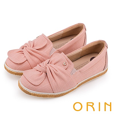 ORIN 俏麗女孩 扭結花瓣牛皮平底便鞋-粉紅