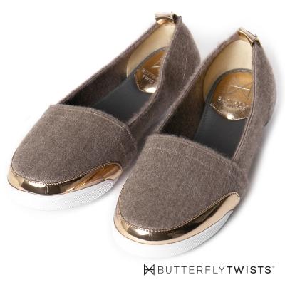 BUTTERFLY TWISTS-紡織布面金屬滾邊記憶軟墊平底鞋-貂灰