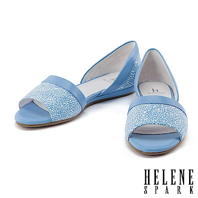 平底鞋 HELENE SPARK 隨性摩登幾何羊皮魚口平底鞋-藍