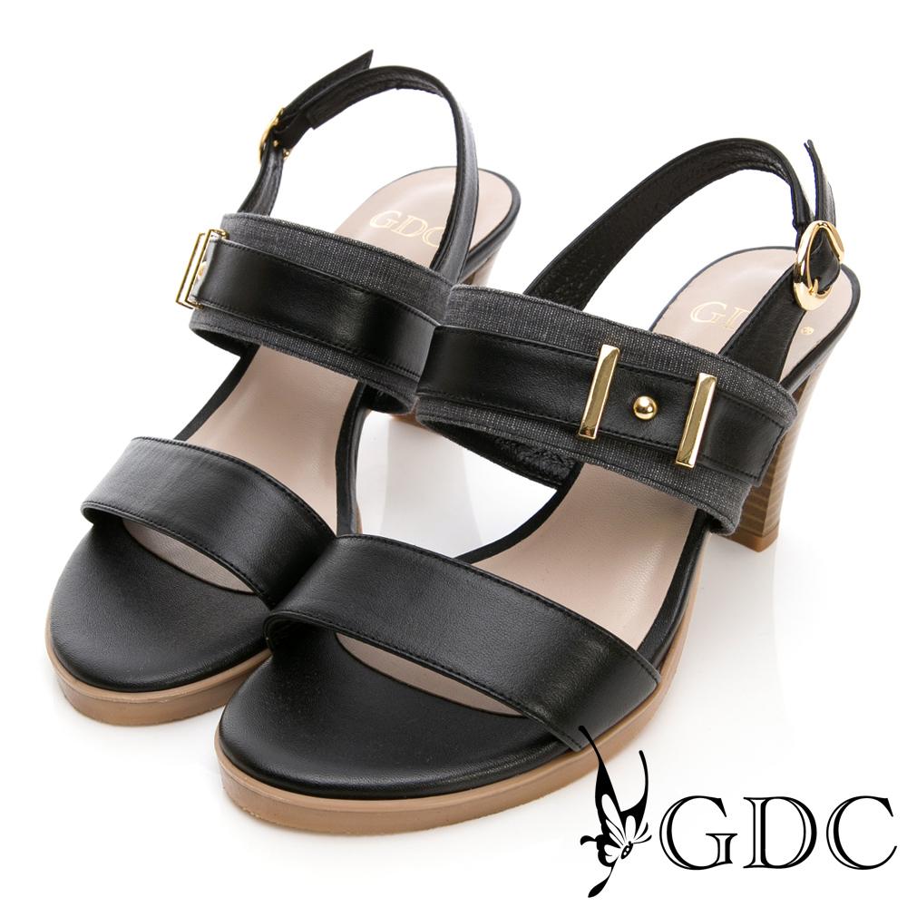 GDC-真皮經典韓風氣勢扣環撞色粗跟涼鞋-黑色