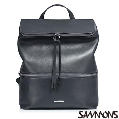 SAMMONS-真皮亨利時尚後背包-雅緻灰
