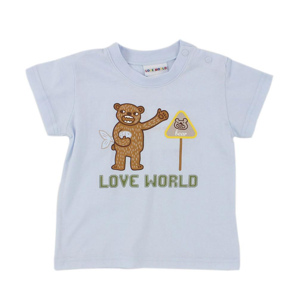 愛的世界 純棉圓領熊出沒印圖短袖T恤-淺藍/3~4歲