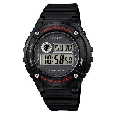 CASIO 元氣數位美學實用必備休閒錶(W-216H-1A)-黑x黑框/43mm