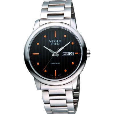 VOGUE 時尚藍寶石水晶日期腕錶-黑x銀/40mm