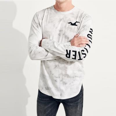 HCO Hollister 海鷗 經典背面印刷標誌刷染設計文字長袖T恤-灰色
