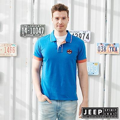 JEEP滾邊造型修身短袖POLO衫-天藍