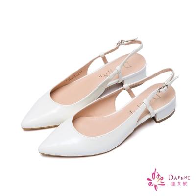 達芙妮DAPHNE-清新名媛金屬飾跟後拉帶低跟鞋