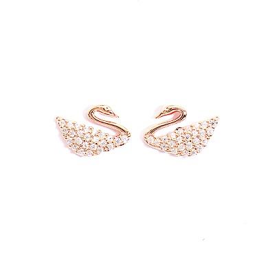 微醺禮物 正韓 鍍K金銀針 悠悠天鵝 鋯石 簡約 貼耳 耳針 耳環