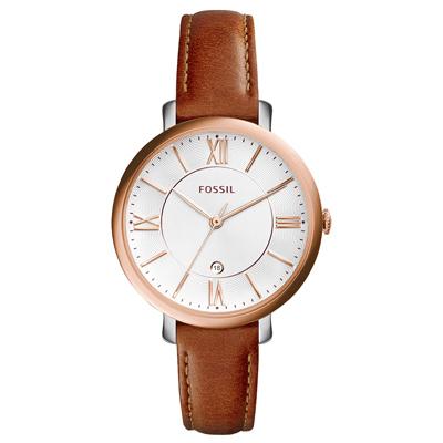 FOSSIL 網羅質感日期時尚腕錶-玫瑰金框白x咖啡皮帶/36mm