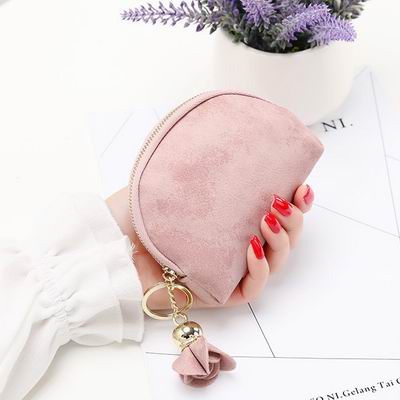 iSPurple 玫瑰掛飾 磨砂皮革零錢包 粉