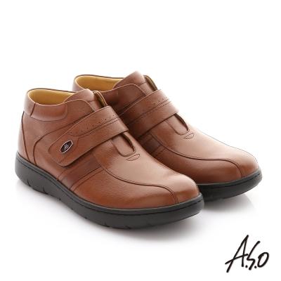 A.S.O 職場通勤 3E寬楦牛皮魔鬼氈半高筒紳士皮鞋 茶色