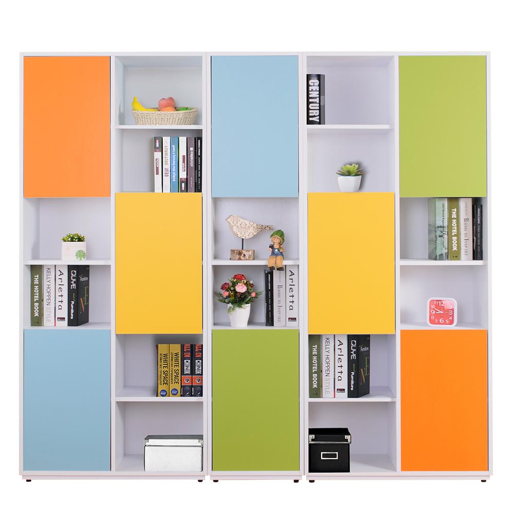 AT HOME-芬妮6.7尺彩色組合八門書櫃