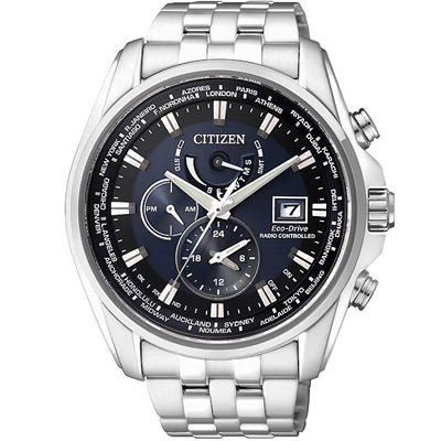 CITIZEN 光動能世界時間萬年曆防磁電波錶(AT9031-52L)-藍/45mm