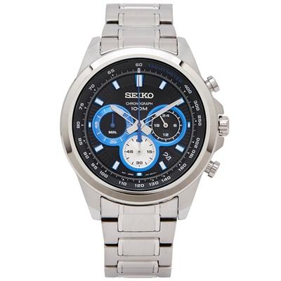 SEIKO 極速感三眼計時男性手錶(SSB243P1)-深藍面/44mm