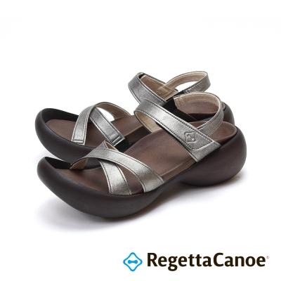 RegettaCanoe-皮革交叉 蛋型鞋底樂步鞋-銀灰色