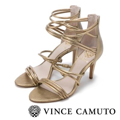 VINCE CAMUTO 華麗經典 美型繞踝百搭細跟涼鞋-金色