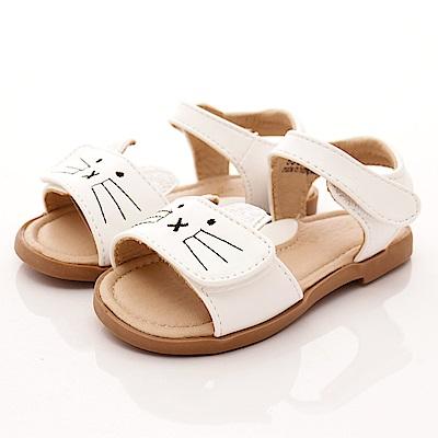 PV日系私藏貓咪皮質涼鞋款EI303白中小童段