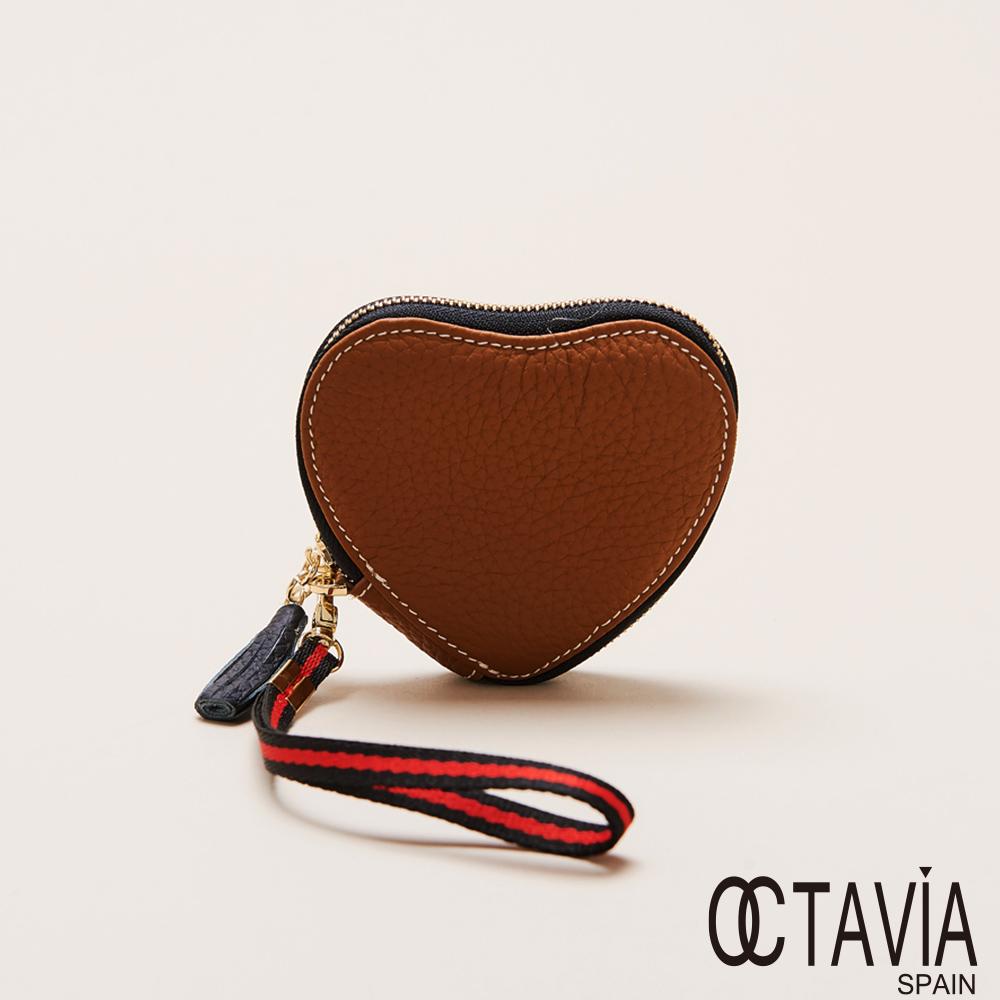 OCTAVIA 8真皮  - 愛心牛皮手挽零錢包 - 真愛棕