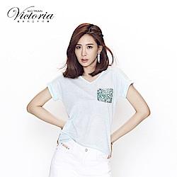 Victoria 異材質拼接落肩短袖T-女-淺綠