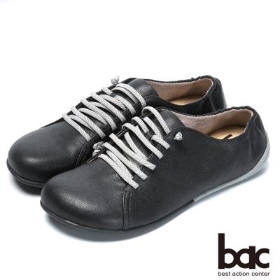 bac時尚樂活 舒適綁帶羊皮休閒鞋-黑
