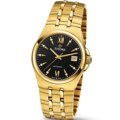 【TITONI 瑞士梅花錶】Impetus 動力系列-黑色錶盤金色錶帶/38mm(83730 G-515)