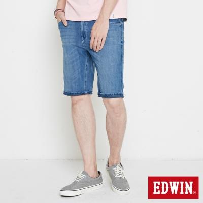 EDWIN 迦績褲 快乾合身短褲-男-石洗藍
