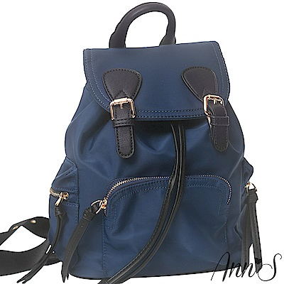 Ann'S休閒輕便版-素面防水尼龍束口後背包-深藍