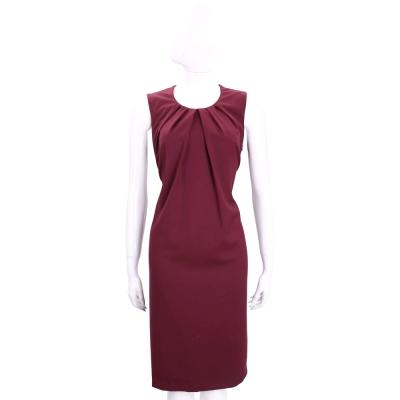 TRUSSARDI 深紅色抓皺圓領設計無袖洋裝