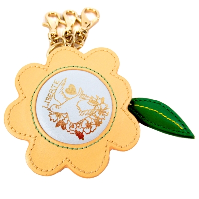 agnes b.花型皮革鑰匙圈(黃)