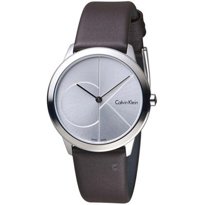 Calvin Klein minimal大ck簡約時尚腕錶-銀x咖啡35mm