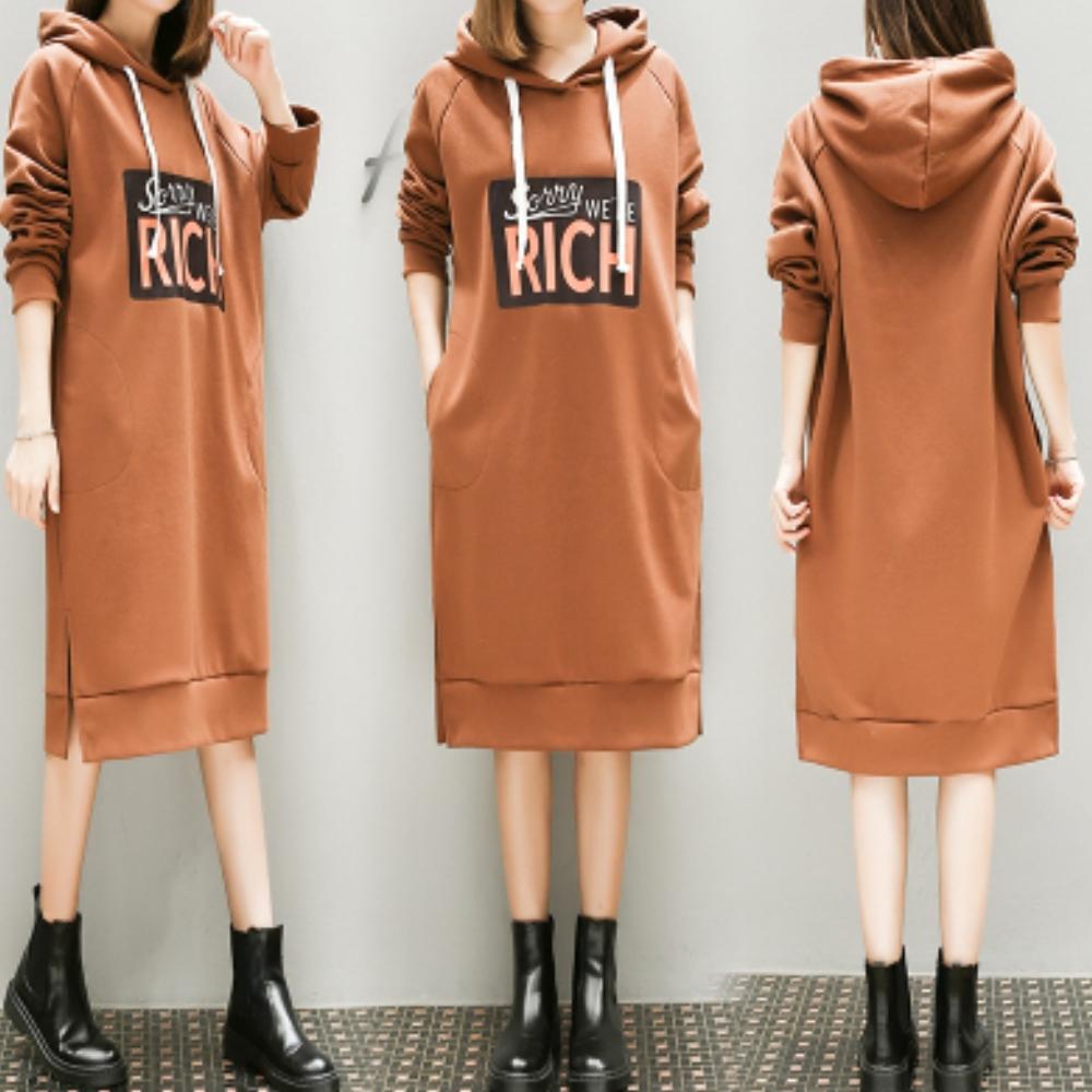 中大尺碼RICH連帽布繩側口袋開叉厚棉洋裝XL~4L-Ballet Dolly