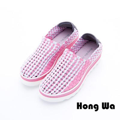 Hong Wa - 運動休閒透氣械型增高編織布鞋 - 粉