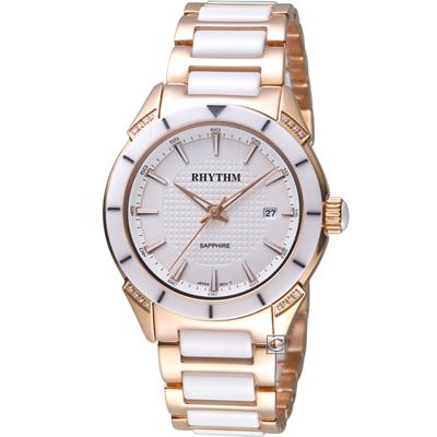 麗聲錶 RHYTHM 天使之心陶瓷腕錶(F1207T06)白/38mm