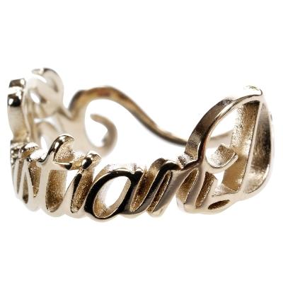 Christian Dior 品牌草寫字母設計戒指(金色)