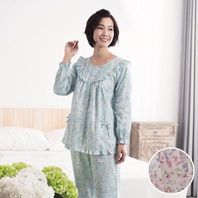 華歌爾睡衣 日本碎花印花居家服M-L兩件式睡衣(清新白)