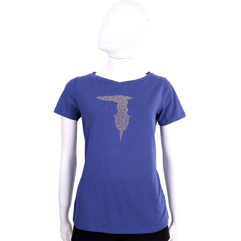 TRUSSARDI 藍色品牌LOGO貼飾棉質短袖T恤