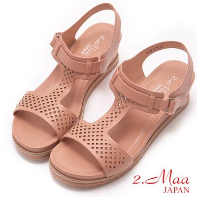 2.Maa-樂活休閒馬卡龍色楔型厚底涼鞋-梅紅